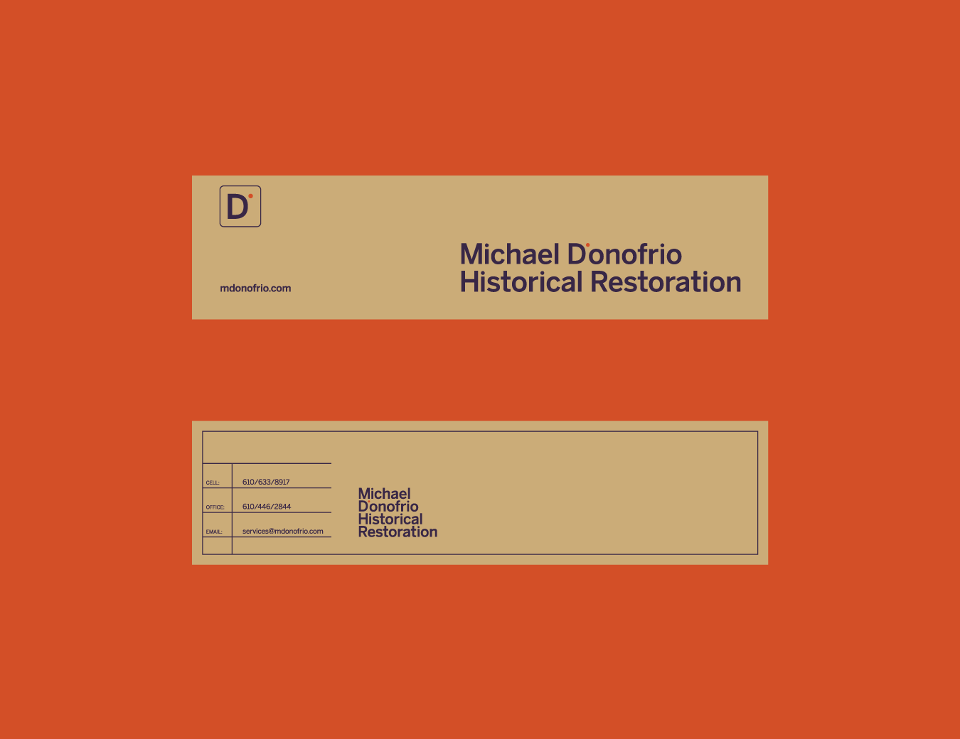 Michael D'Onofrio Historical Restoration bookmark and business card